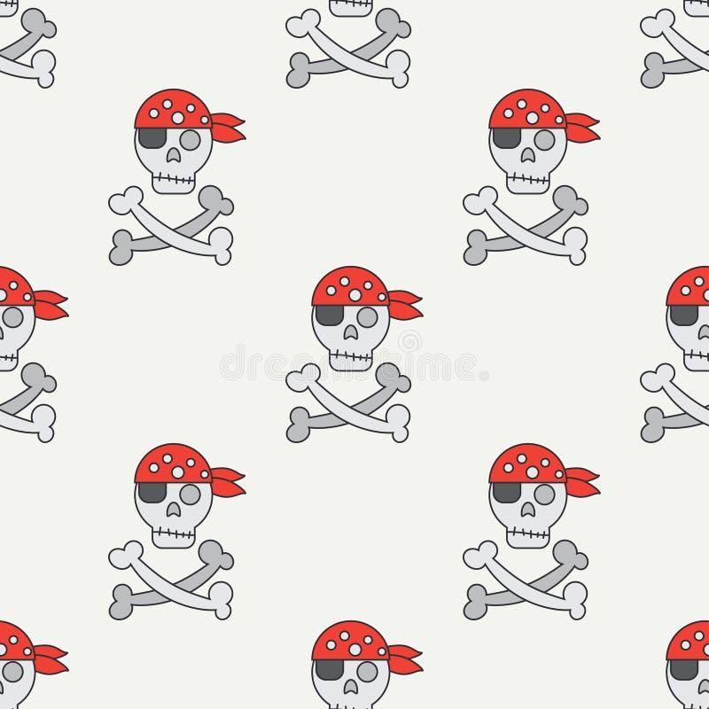 Den sömlösa färglägenhetlinjen modell med piratkopierar flaggan jolly roger royaltyfri illustrationer