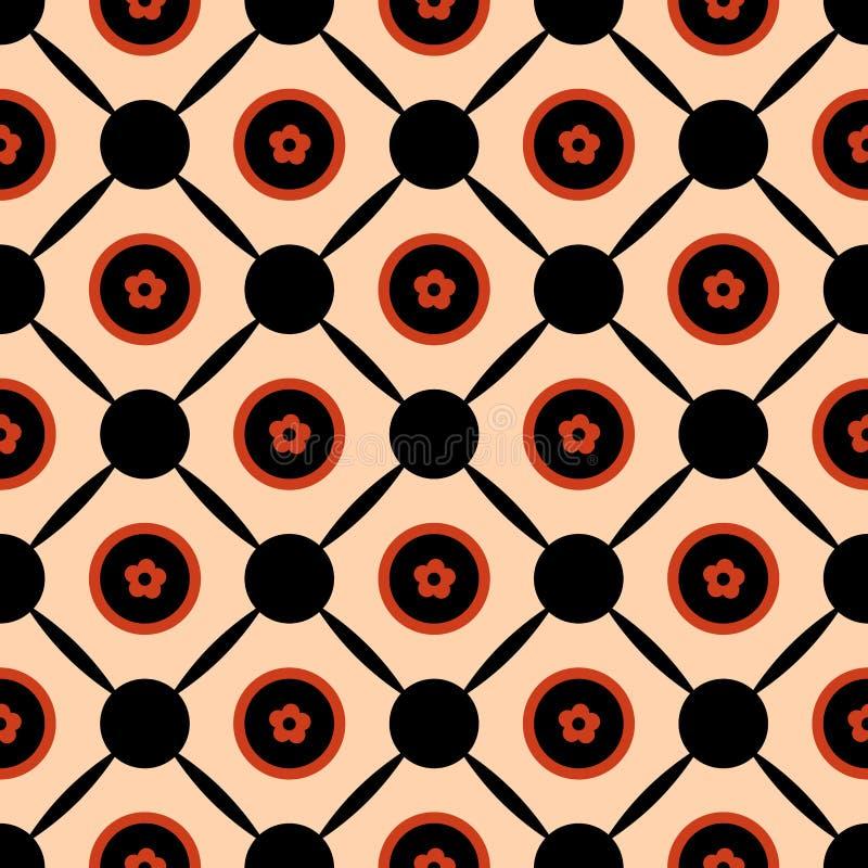 Den sömlösa geometriska designen för bakgrund för modellvektorabstrakt begrepp av cirklar med orange vårsommar blommar i dem förb stock illustrationer