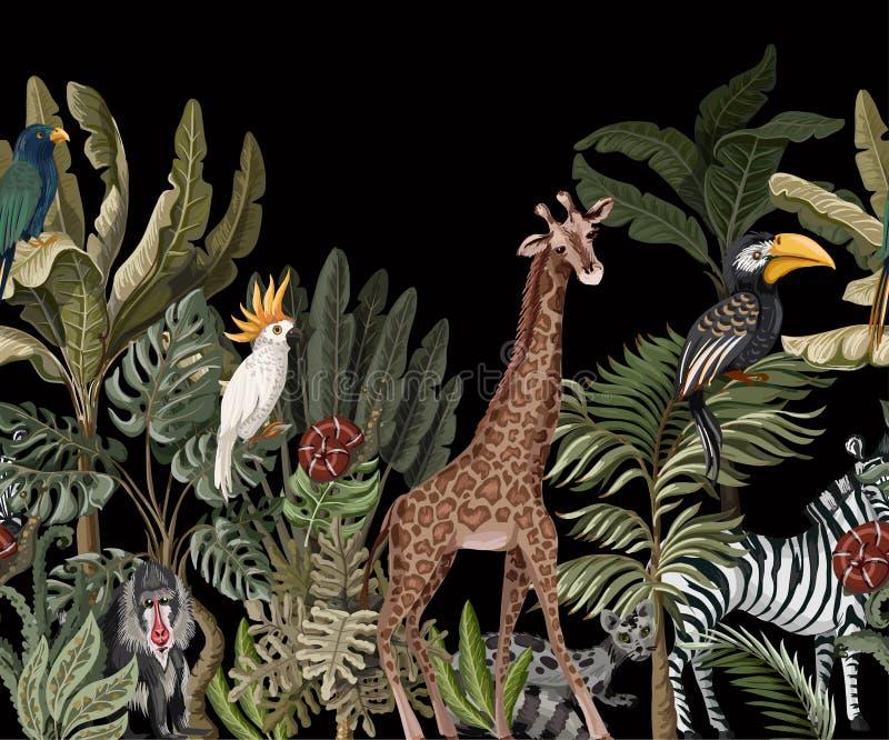 Den sömlösa gränsen med det tropiska trädet liksom gömma i handflatan, banan- och djungeldjur vektor stock illustrationer