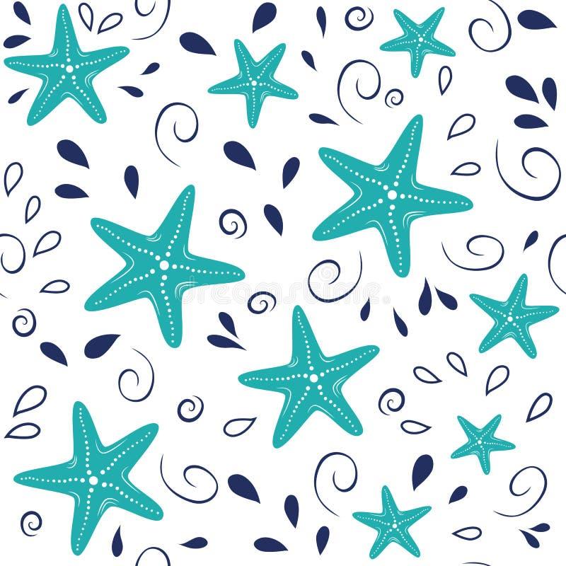 Den sömlösa havsmodellen med handen drog havsstjärnor, vågen, droppar i marinturkos färgar på vit bakgrund royaltyfri illustrationer