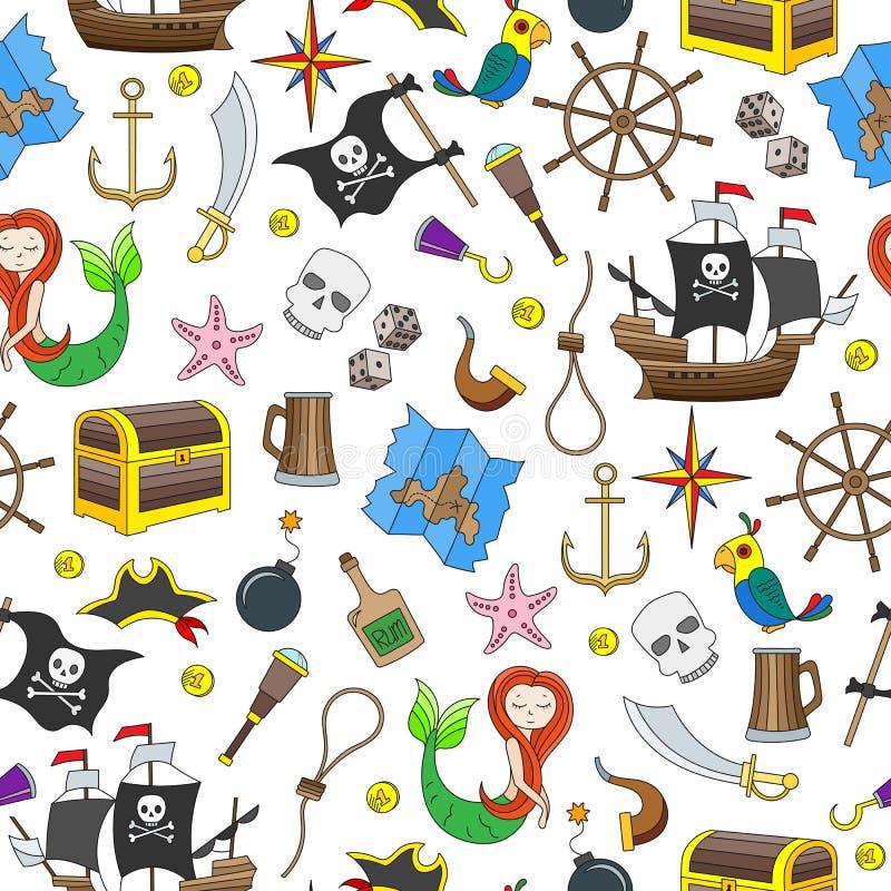 Den sömlösa illustrationen av ämnet av piratkopiering och det maritima loppet färgar symboler på vit bakgrund royaltyfri illustrationer