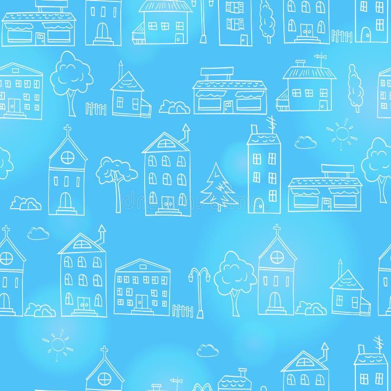 Den sömlösa illustrationen med enkla hand-drog hus och träd, översikt skissar på en blå bakgrund royaltyfri illustrationer