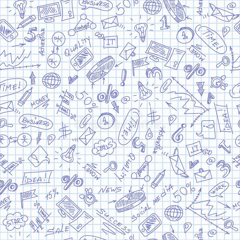 Den sömlösa illustrationen på temat av affären, enkla kontursymboler, blåttkontursymboler på den rena handstil-boken täcker i A.C vektor illustrationer