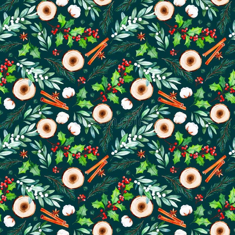 Den sömlösa julmodellen med blommor, träskivor, sidor, filialer, bomull blommar royaltyfri illustrationer