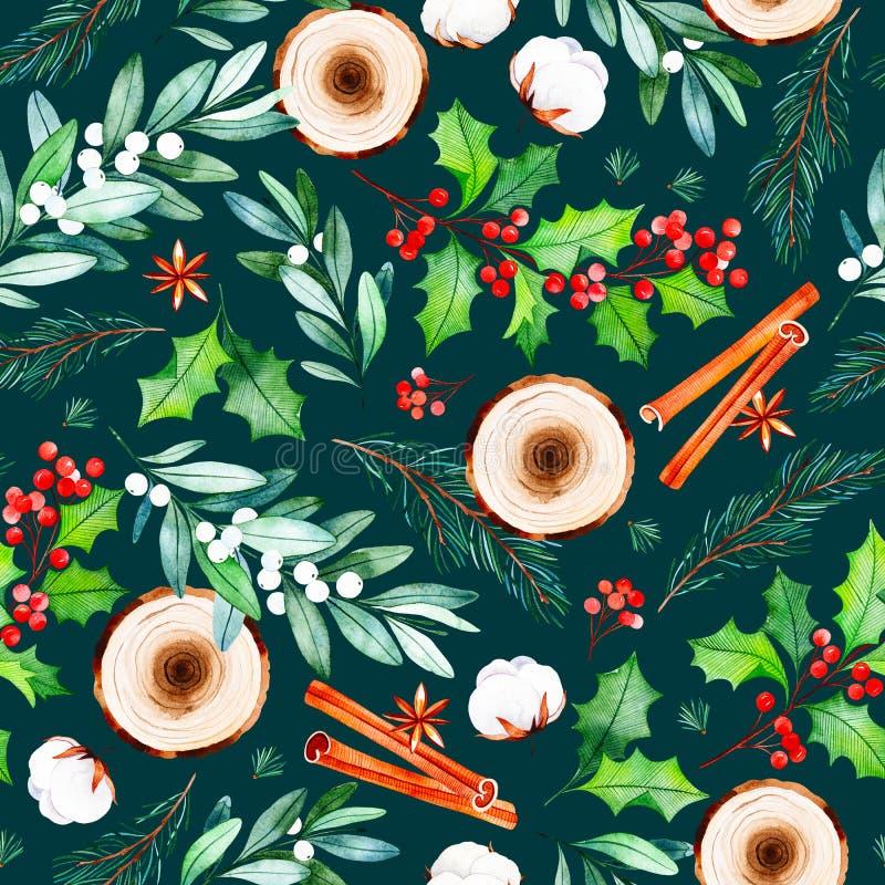 Den sömlösa julmodellen med blommor, träskivor, sidor, filialer, bomull blommar stock illustrationer
