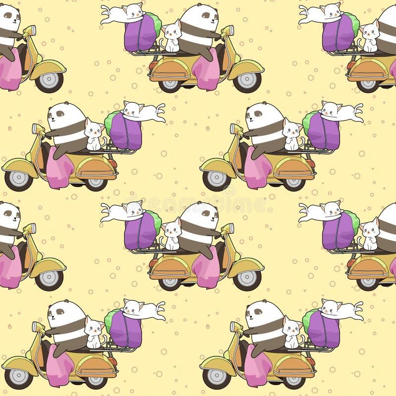 Den sömlösa kawaiipandan rider en motorcykel med 2 katter för hemsändningmodell royaltyfri illustrationer