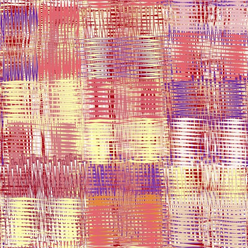 Den sömlösa latticed modellen med grunge gjorde randig genomskurna färgrika beståndsdelar stock illustrationer
