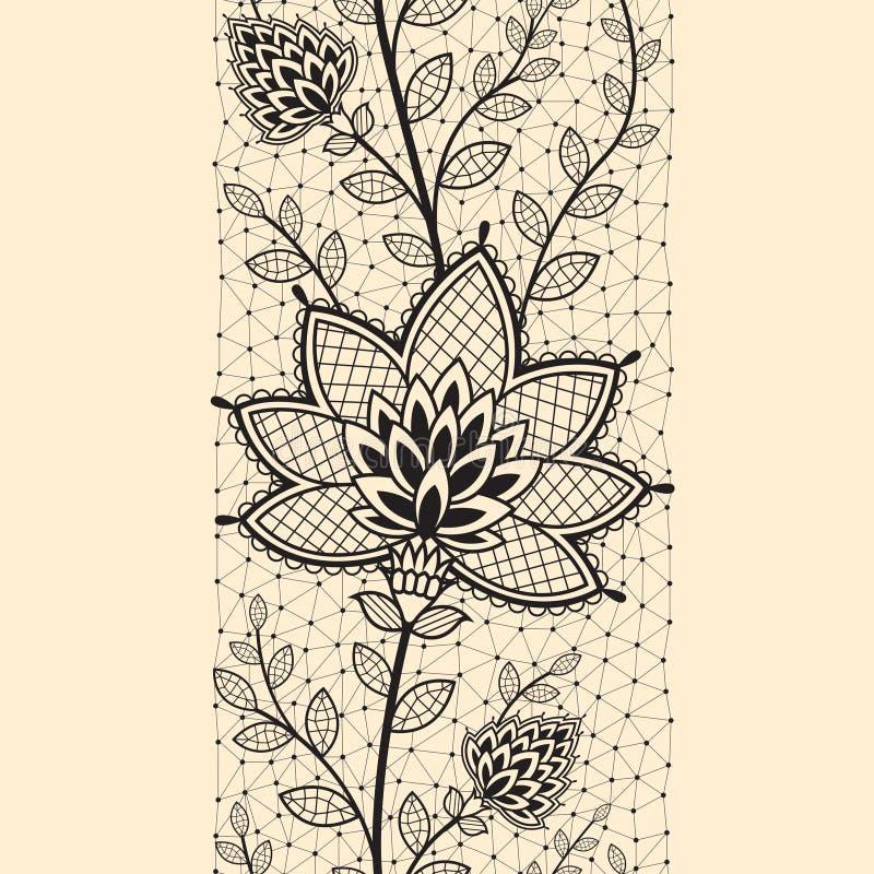 Den sömlösa lodlinjen snör åt bandet med den abstrakta blomman royaltyfri illustrationer