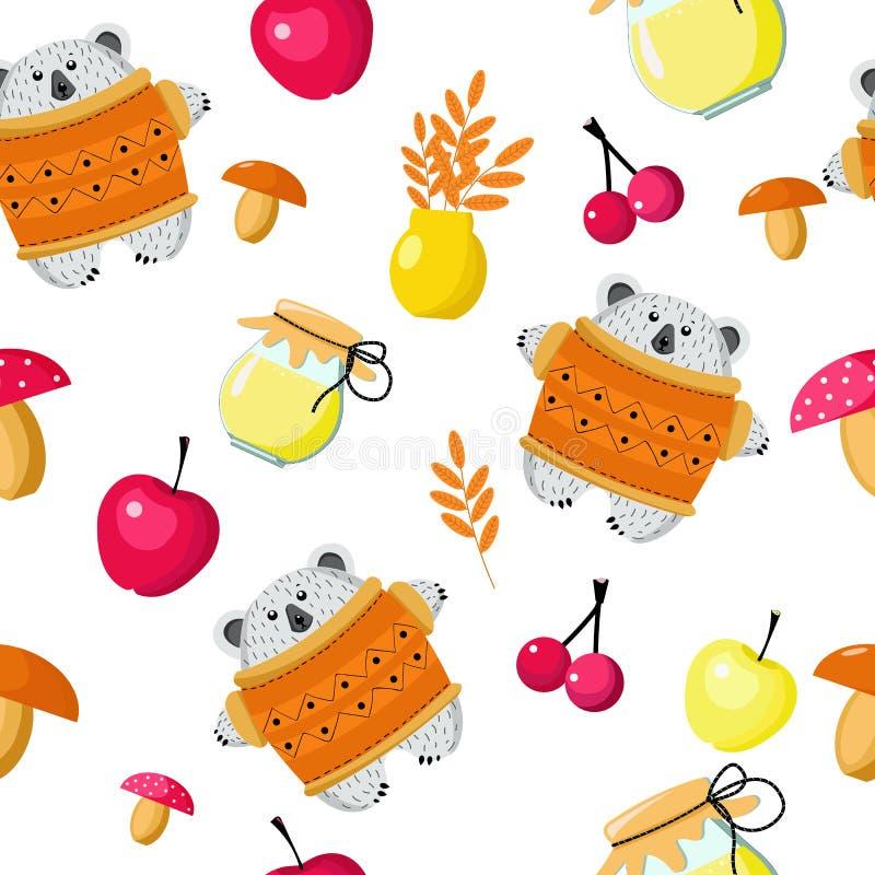 Den sömlösa modellbjörnen och höstskörden ställde in av champinjoner, äpplen, bär, honung, sidor för designen av tapeten, omslag, stock illustrationer