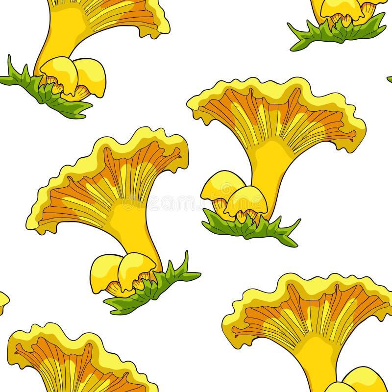 Den sömlösa modellen är naturliga kantarellchampinjoner Vektorillu royaltyfri illustrationer