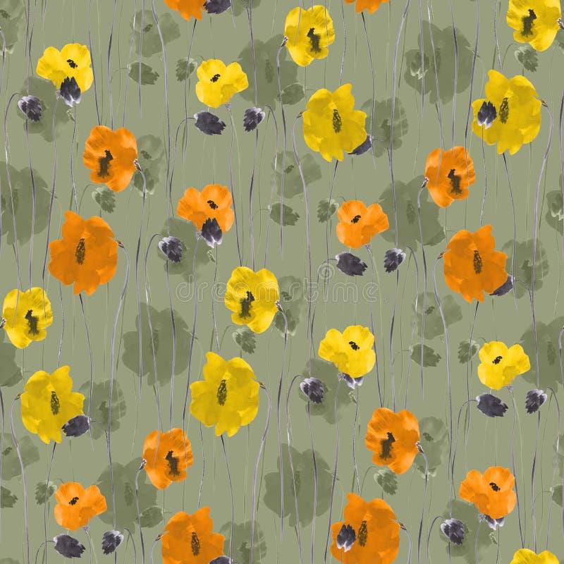 Den sömlösa modellen av apelsinen, guling, beiga blommar på en grön bakgrund vattenfärg stock illustrationer