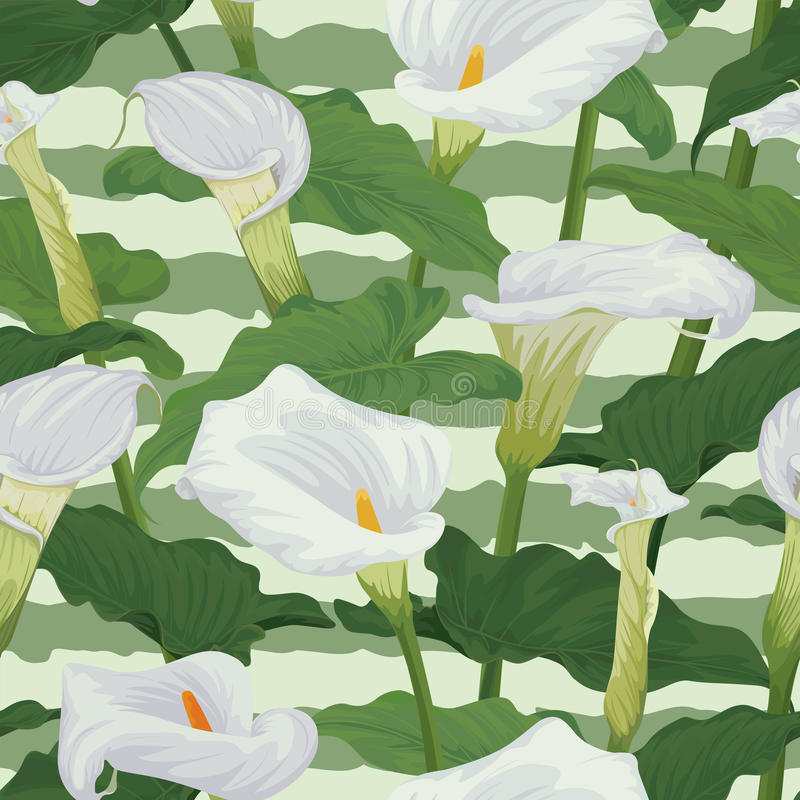 Den sömlösa modellen av callaliljan blommar med sidor på grafisk bakgrund stock illustrationer