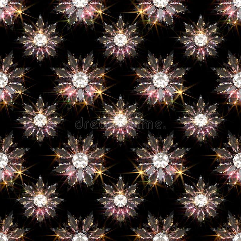 Den sömlösa modellen av diamanten blommar på svart bakgrund royaltyfri illustrationer