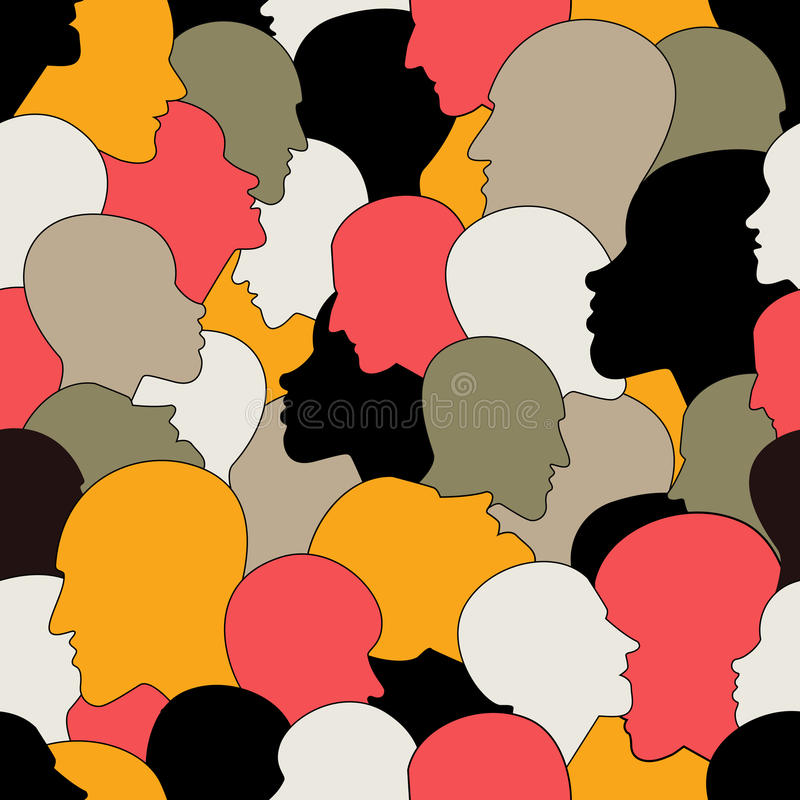 Den sömlösa modellen av en folkmassa av många olika personer profilerar huvud från olik person som tillhör en etnisk minoritet stock illustrationer