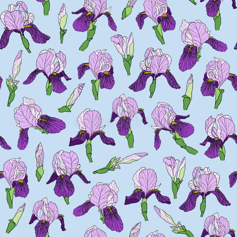 Den sömlösa modellen av irins blommar i en linjär stil stock illustrationer