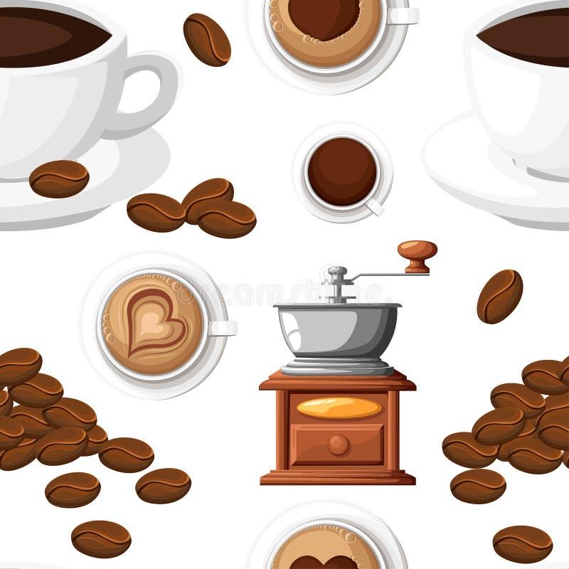 Den sömlösa modellen av den klassiska kaffekvarnen med en grupp av manuellt kaffe för kaffebönor maler och en illustra för kopp k stock illustrationer