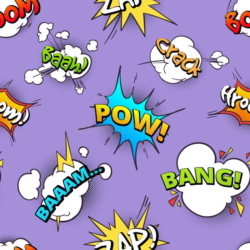 Den sömlösa modellen av komiskt anförande för tecknade filmen bubblar med olika ljud royaltyfri illustrationer