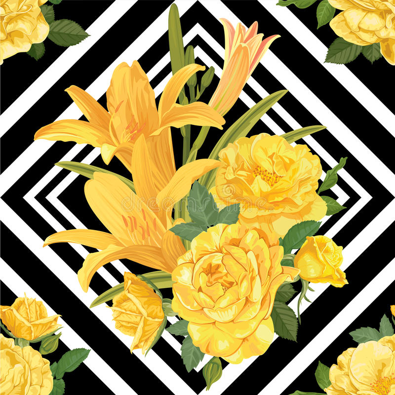 Den sömlösa modellen av liljor blommar med gulingrosen på svartvit grafisk geometrisk bakgrund royaltyfri illustrationer