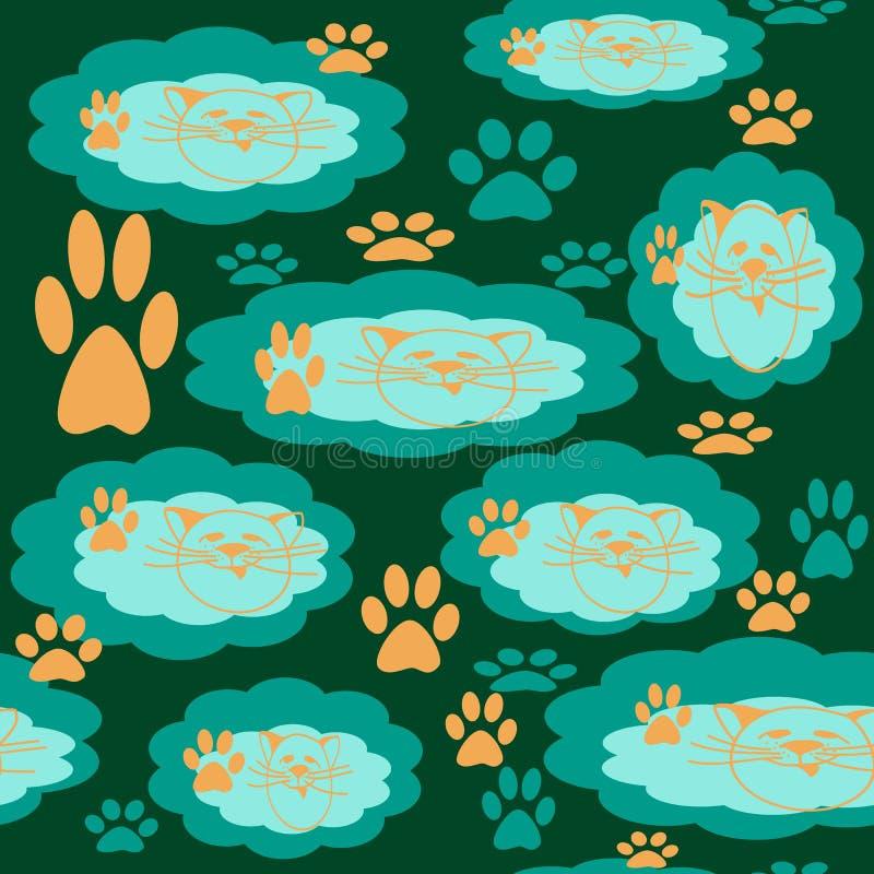Den sömlösa modellen av moln med en katts huvudmodellen och spårar av katt tafsar royaltyfri illustrationer