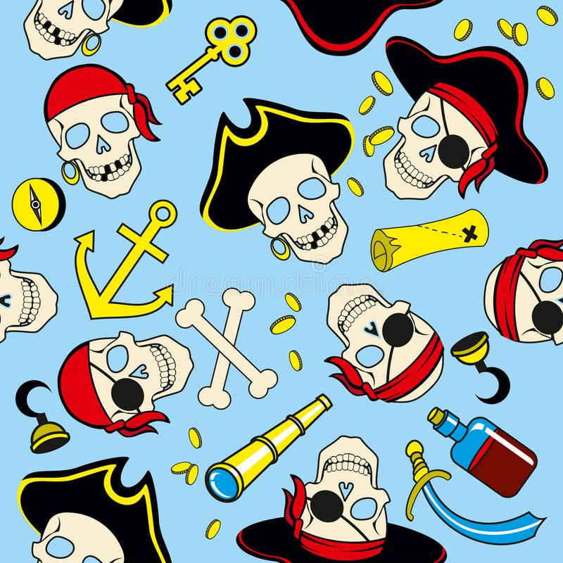 Den sömlösa modellen av piratkopierar sömlös bakgrund royaltyfri illustrationer
