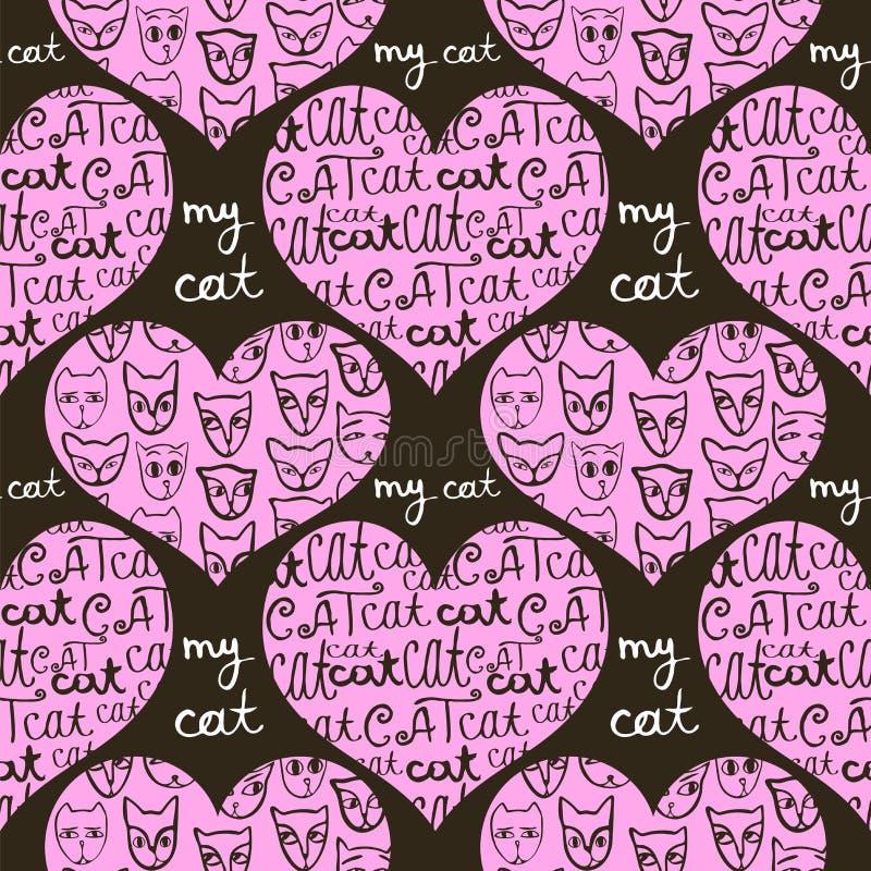 Den sömlösa modellen av rosa hjärtor dekorerade med katter stock illustrationer