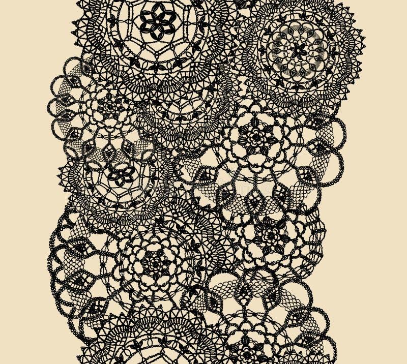 Den sömlösa modellen av stuckit snör åt, den svarta konturn på beige bakgrund vektor illustrationer