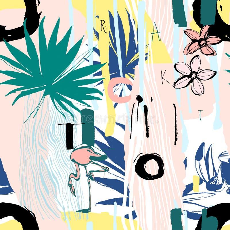 Den sömlösa modellen av tropiska fåglar, gömma i handflatan, blommar och bokstäver royaltyfri illustrationer