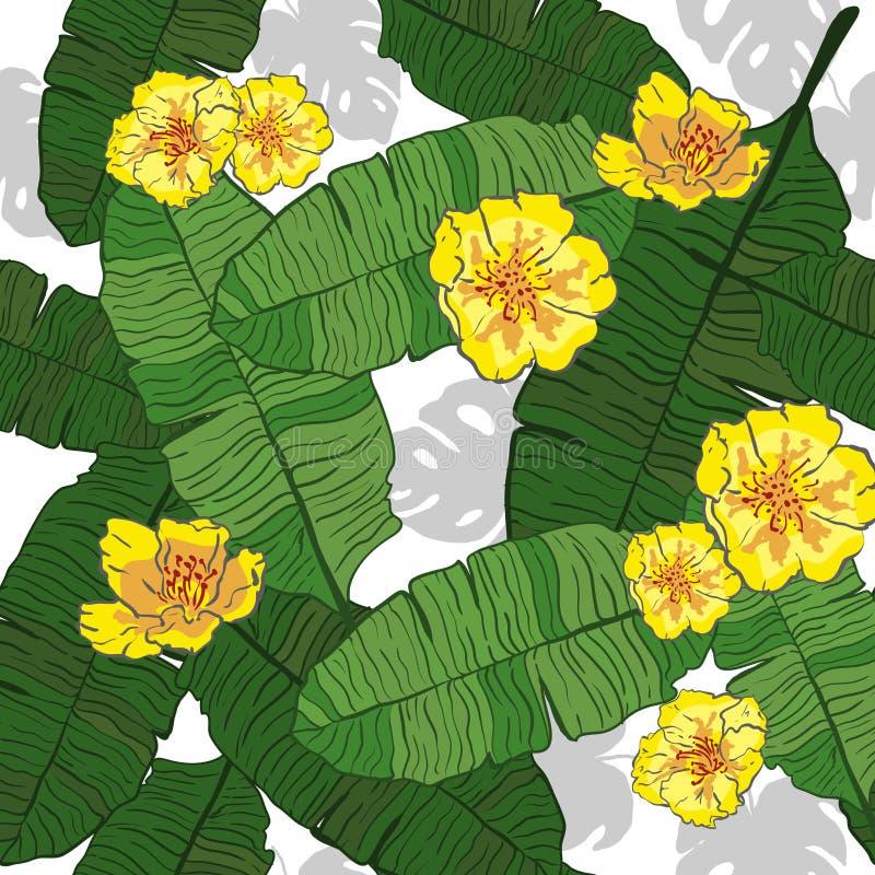 Den sömlösa modellen av tropiskt gömma i handflatan sidor med gula blommor Exotisk idérik universell blom- modell Design för affi royaltyfri illustrationer