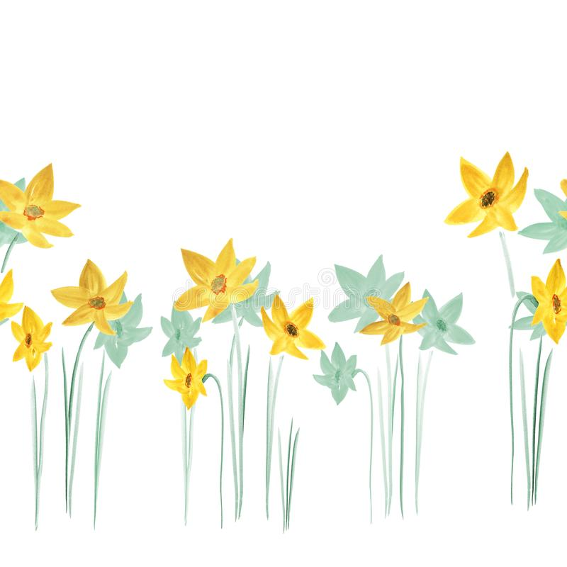 Den sömlösa modellen av vårguling och gräsplan blommar på en vit bakgrund vattenfärg royaltyfri illustrationer