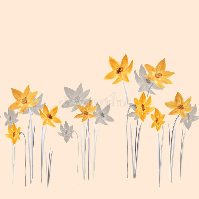 Den sömlösa modellen av vårguling och grå färger blommar på en ljus beige bakgrund vattenfärg stock illustrationer