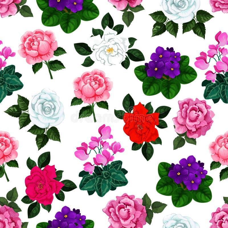 Den sömlösa modellen av vektorträdgården blommar buketter royaltyfri illustrationer