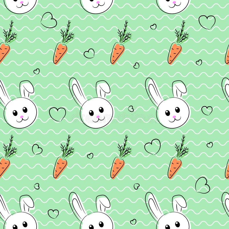 Den sömlösa modellen, bakgrund med kaniner och morötter för easter och annan semestrar vektor illustrationer