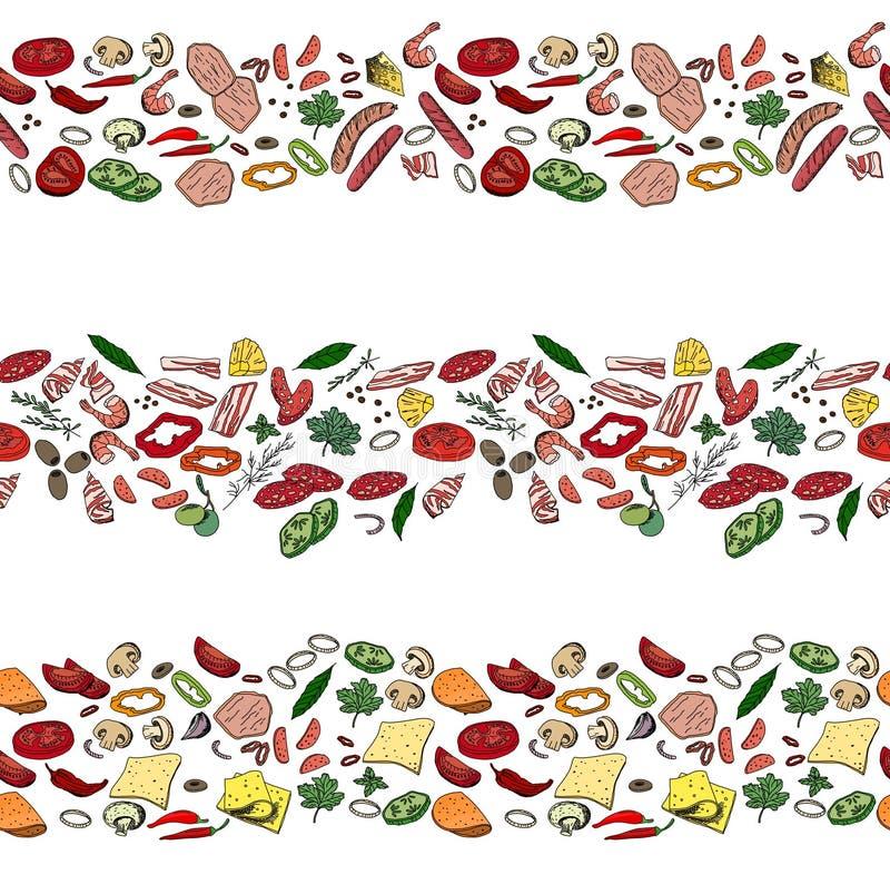 Den sömlösa modellen borstar med olikt grönsaker, champinjoner, örter och kött vektor illustrationer