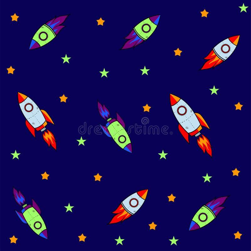 Den sömlösa modellen för att resan ska göra mellanslag med skissar stjärnor, raket, komet, planeter och ufo, vektor royaltyfri illustrationer