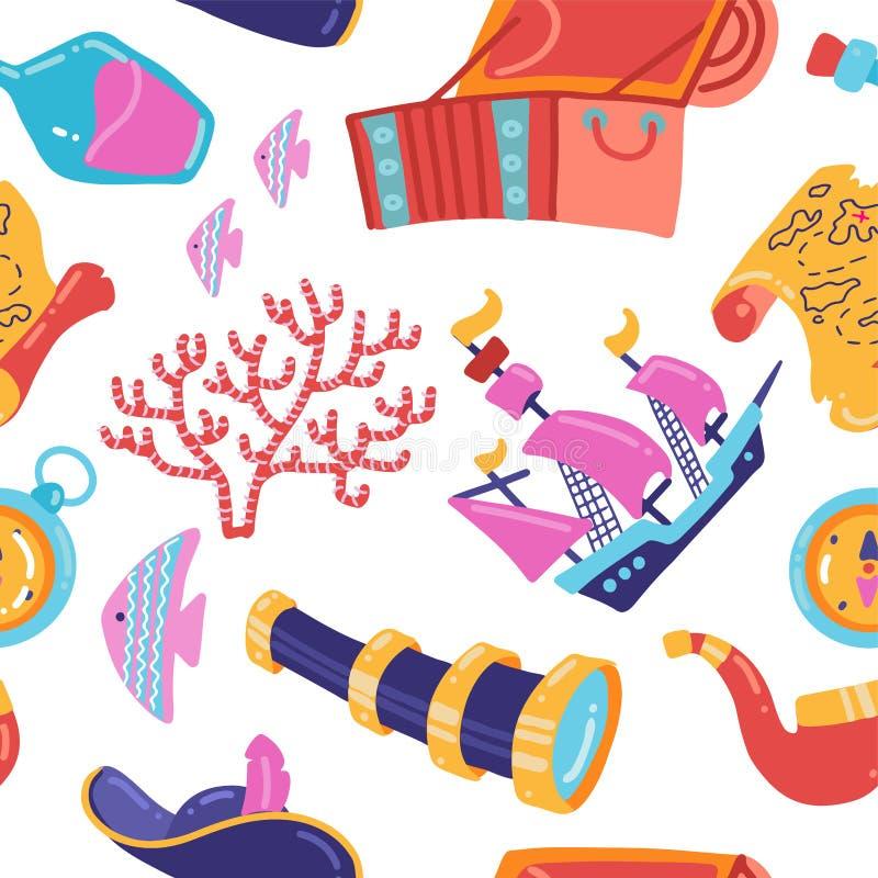 Den sömlösa modellen för piratkopierar partiet Tapet f?r barn i tecknad filmstil Färgrika havsbeståndsdelar Mall för tapet, stock illustrationer