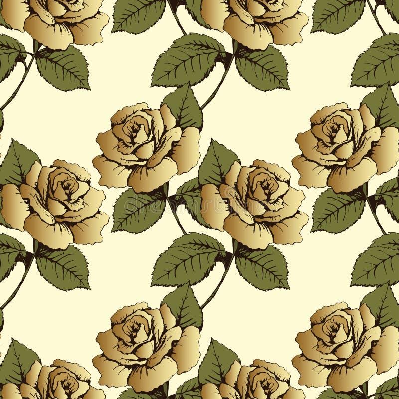 Den sömlösa modellen från guld blommar rosor Vävde blommor, knoppar, sidor och stammar på en gul bakgrund Tapet omslag, packag vektor illustrationer