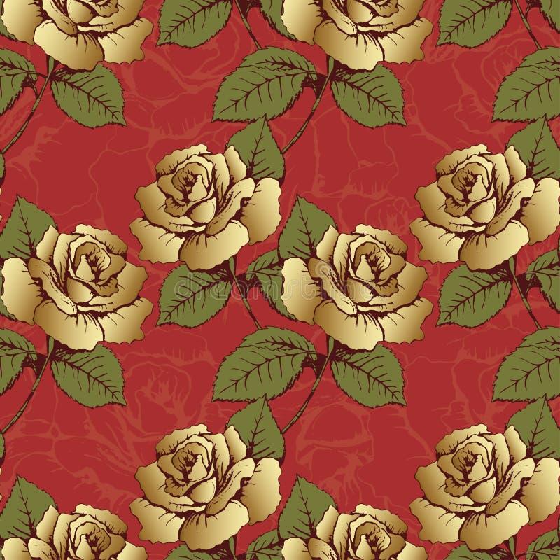 Den sömlösa modellen från guld blommar rosor Vävde blommor, knoppar, sidor och stammar på en scharlakansröd bakgrund med blommiga royaltyfri illustrationer