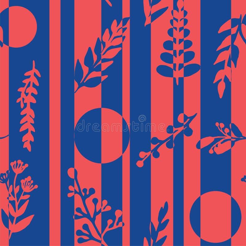 Den sömlösa modellen med abstrakt begrepp gör randig, blommar, växter i röda och blåa färger stock illustrationer