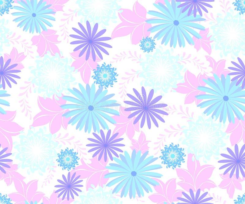 Den sömlösa modellen med blommor kyler blåa skuggor på en homogen ljus bakgrund Illustration för vektor EPS10 stock illustrationer