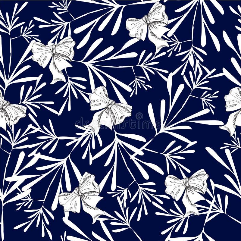 Den sömlösa modellen med blommor, mörker - slösa med pilbågar vektor illustrationer