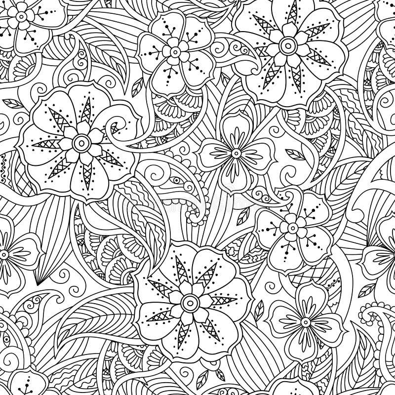 Den sömlösa modellen med blommor och blad i klottermendie utformar vektor illustrationer