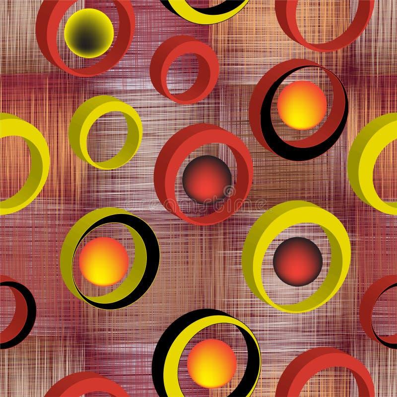 Den sömlösa modellen med 3d ringer på gjord randig och rutig färgrik bakgrund för grunge vektor illustrationer