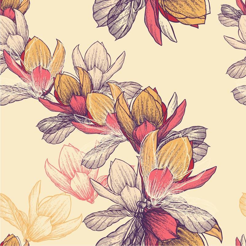 Den sömlösa modellen med den blommande magnolian blommar, H vektor illustrationer