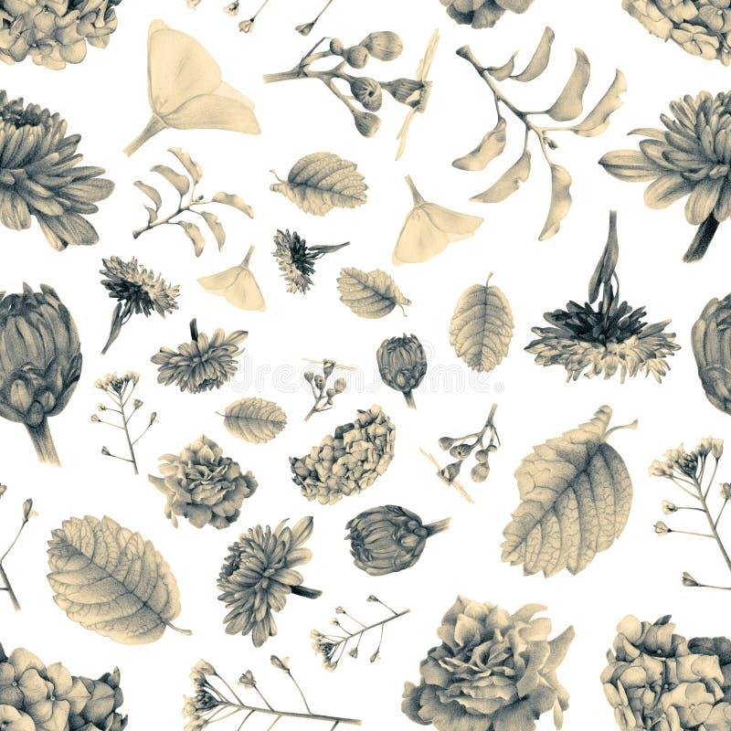 Den sömlösa modellen med den härliga våren blommar och växter royaltyfri illustrationer