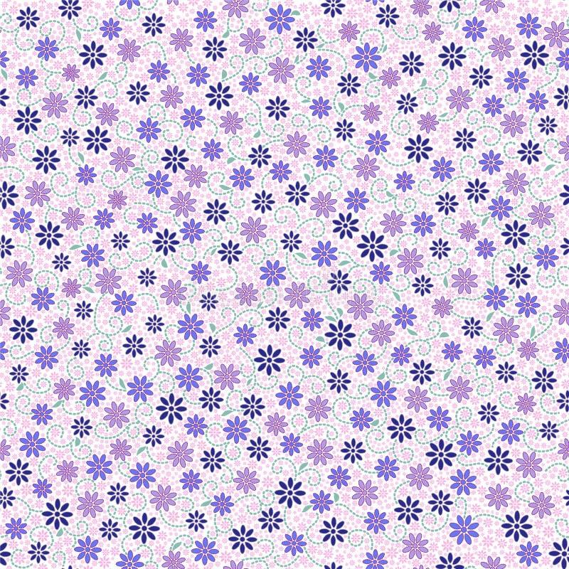 Den sömlösa modellen med den lilla försiktiga tusenskönan blommar i rosa färger, blått vektor illustrationer