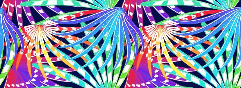 Den sömlösa modellen med den stiliserade regnbågen befjädrar på den djupblå bakgrunden stock illustrationer