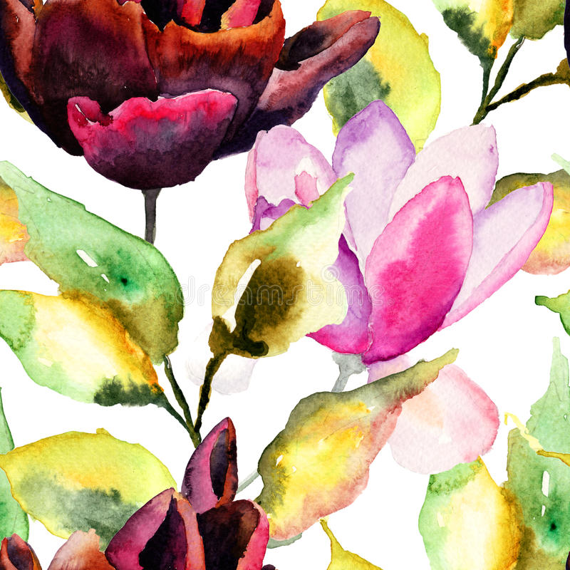 Den sömlösa modellen med den svarta tulpan och magnolian blommar stock illustrationer