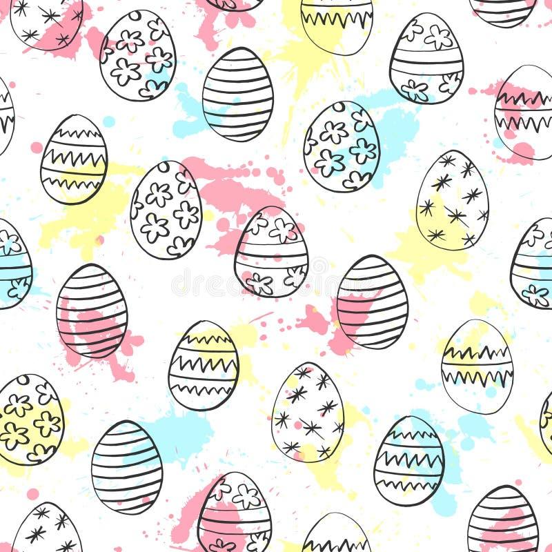 Den sömlösa modellen med drog ägg och vattenfärgen för påsk handen bläckar ner på vit bakgrund också vektor för coreldrawillustra vektor illustrationer