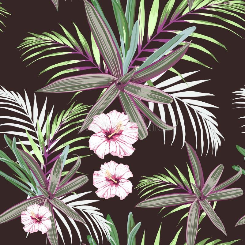 Den sömlösa modellen med exotiskt tropiskt gömma i handflatan, och hibiskusen blommar Rosa tropiska växter på den mörka bakgrunde stock illustrationer