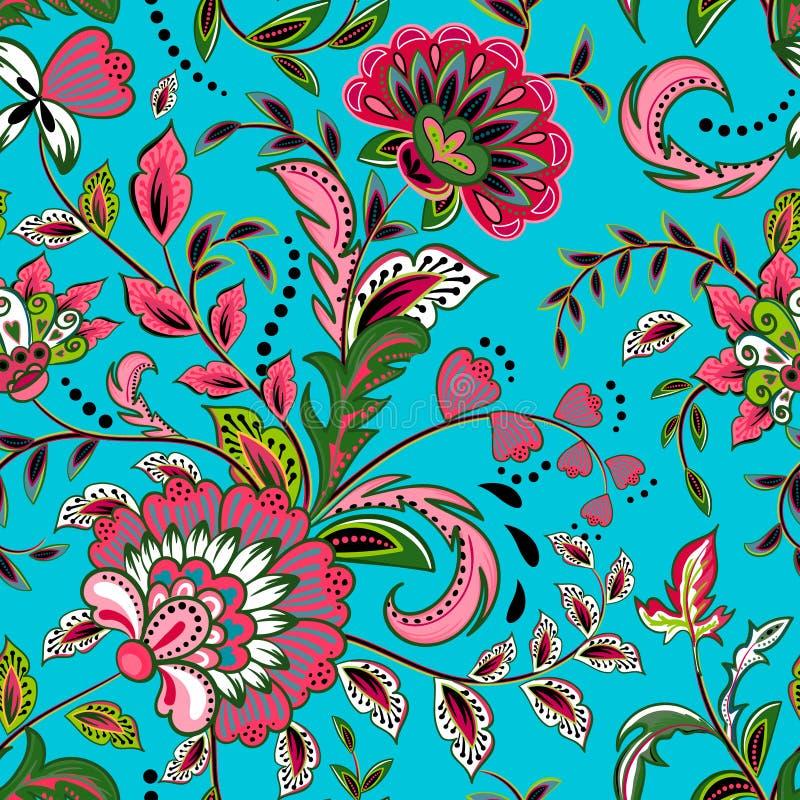 Den sömlösa modellen med fantasi blommar, den naturliga tapeten, blom- garneringkrullningsillustration Dragen Paisley tryckhand stock illustrationer